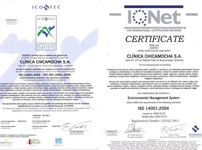 Certificación En Gestión Ambiental ISO 14001 del Año 2004